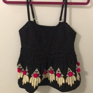 Beautifully detailed crop top— pink pom poms!